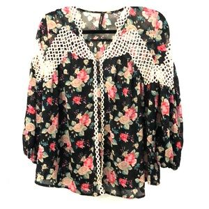 Boho floral loose blouse